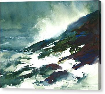 Wave And Rocks - Storm On The North Shore Canvas Print by William Beaupre