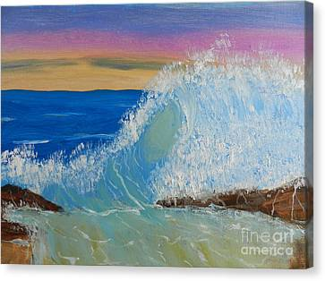 Wave At Sunrise Canvas Print by Pamela  Meredith