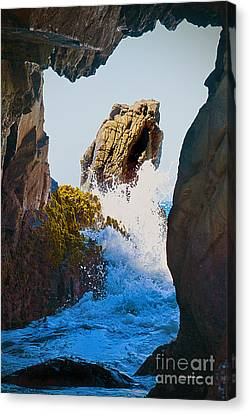 Wave Through The Cave At Pfiffer Beach In Big Sur Canvas Print by Artist and Photographer Laura Wrede
