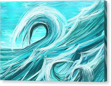 Waves Collision - Abstract Wave Paintings Canvas Print by Lourry Legarde