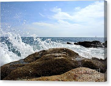Waves Crashing Canvas Print by Olivier Le Queinec