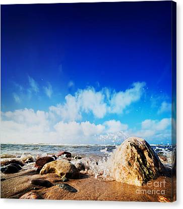 Waves Hiting Rocks On The Sunny Beach Canvas Print by Michal Bednarek
