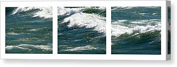 Waves Triptych Ll Canvas Print by Michelle Calkins