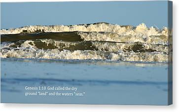 Waves With Scripture Canvas Print by Charles Shedd