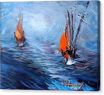 Wavy Sea Canvas Print by Helene Khoury Nassif