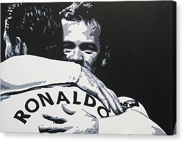 Wayne Rooney And Ronaldo - Manchester United Fc Canvas Print by Geo Thomson