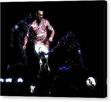 Wayne Rooney Working Magic Canvas Print by Brian Reaves