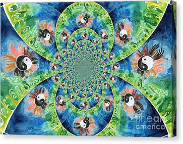 We Are All One Race Flower Kaleidoscope Mandela Canvas Print by Genevieve Esson