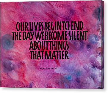 We Become Silent Canvas Print by Elissa Barr