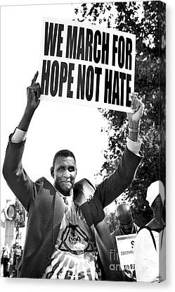 We March For Hope Not Hate Canvas Print by Diane Diederich