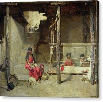 Weavers At Bou-saada Canvas Print by Gustave Guillaumet