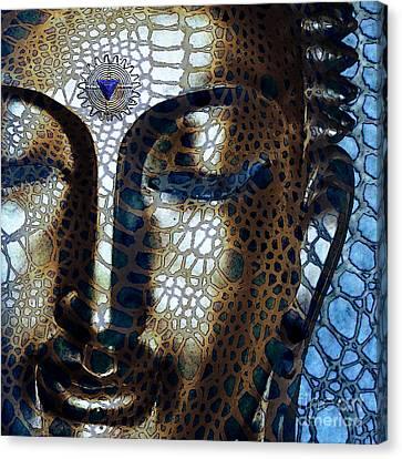 Web Of Dharma - Modern Blue Buddha Art Canvas Print by Christopher Beikmann