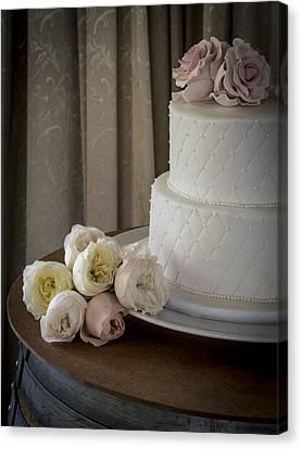 Wedding Cake Adorned With Roses Canvas Print by Kaleidoscopik Photography