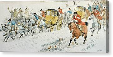 Wedding Procession Returning From Church Canvas Print by Randolph Caldecott