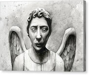 Weeping Angel Don't Blink Doctor Who Fan Art Canvas Print by Olga Shvartsur