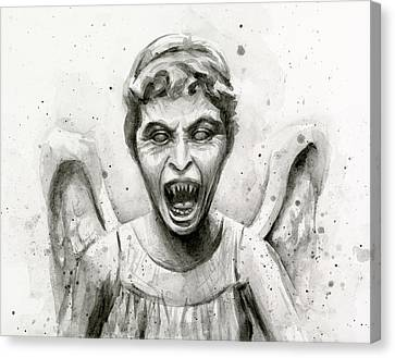 Weeping Angel Watercolor - Don't Blink Canvas Print by Olga Shvartsur
