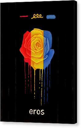 Weeping Rainbow Rose Canvas Print by Darrell Ross