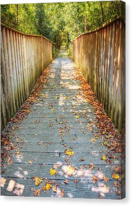 Wehr Nature Center Bridge In Autumn  Canvas Print by The  Vault - Jennifer Rondinelli Reilly