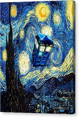 Weird Flying Phone Booth Starry The Night Canvas Print by Three Second