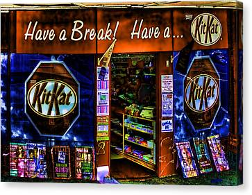 Weird Kit Kat Store Front Canvas Print by Linda Phelps