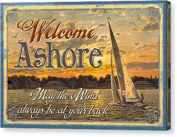 Welcome Ashore Sign Canvas Print by JQ Licensing