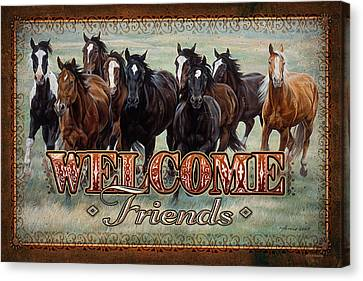 Welcome Friends Horses Canvas Print by JQ Licensing