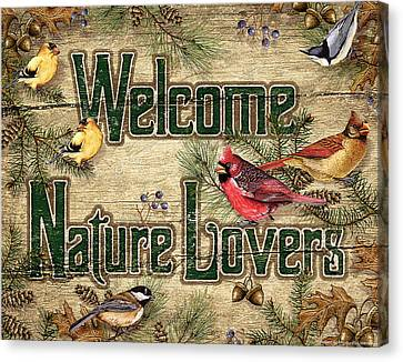 Welcome Nature Lovers Canvas Print by JQ Licensing