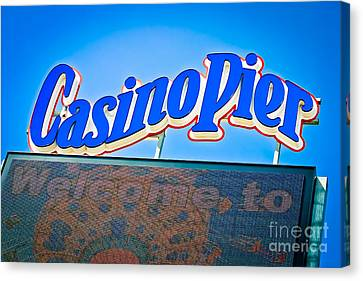 Welcome To Casino Pier Canvas Print by Colleen Kammerer
