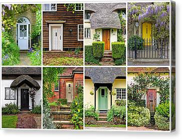 Welcome To England - 8 Cottage Doors Canvas Print by Gill Billington