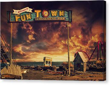 Welcome To Fun Town Canvas Print by Kim Zier