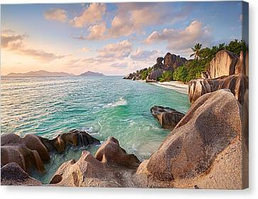 Welcome To La Digue Canvas Print by Michael Breitung