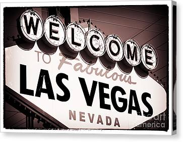 Welcome To Las Vegas Red Tone Canvas Print by John Rizzuto