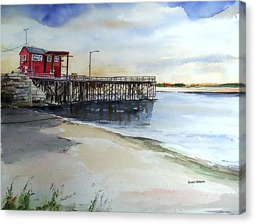 Wells Harbor Dock Canvas Print by Scott Nelson