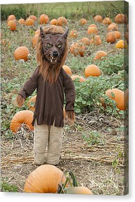 Werewolf In The Pumpkin Patch Canvas Print by Juli Scalzi