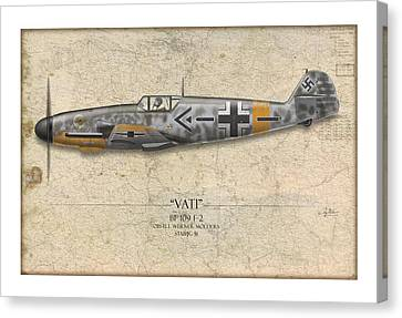 Werner Molders Messerschmitt Bf-109 - Map Background Canvas Print by Craig Tinder