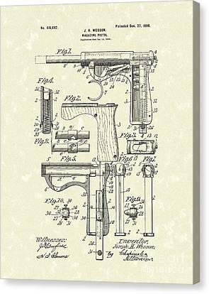 Wesson Pistol 1898 Patent Art Canvas Print by Prior Art Design