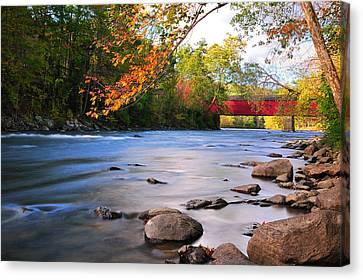 West Cornwall Covered Bridge- Autumn  Canvas Print by Thomas Schoeller