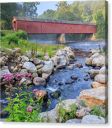 West Cornwall Covered Bridge Square Canvas Print by Bill Wakeley