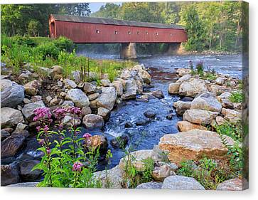 West Cornwall Covered Bridge Summer Canvas Print by Bill Wakeley