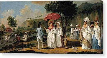 West Indian Landscape With Figures Promenading Before A Stream Canvas Print by Agostino Brunias