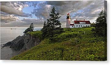 Down East Canvas Print featuring the photograph West Quoddy Head Lighthouse Panorama by Marty Saccone