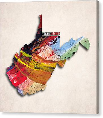 West Virginia Map Art - Painted Map Of West Virginia Canvas Print by World Art Prints And Designs
