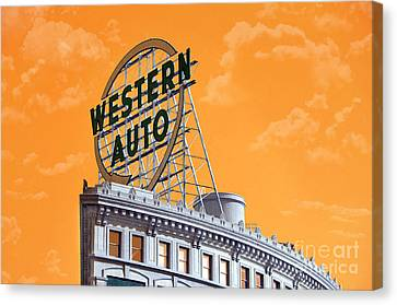 Western Auto Sign Artistic Sky Canvas Print by Andee Design