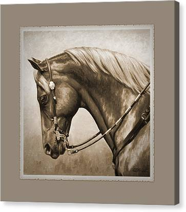 Western Horse Aged Photo Fx Sepia Pillow Canvas Print by Crista Forest