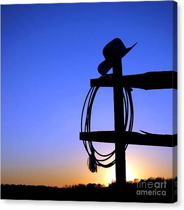 Western Sunset Canvas Print by Olivier Le Queinec