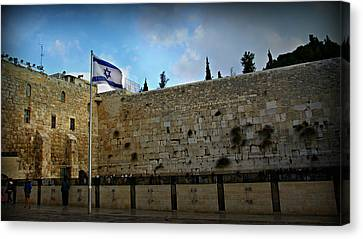 Western Wall And Israeli Flag Canvas Print by Stephen Stookey