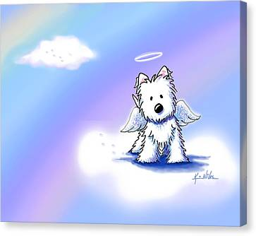 Westie Angel At Rainbow Bridge Canvas Print by Kim Niles
