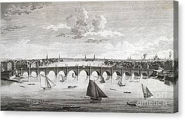 Westminster Bridge, London, Canvas Print by British Library