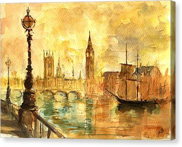 Westminster Palace London Thames Canvas Print by Juan  Bosco