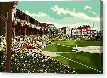 Westside Park Baseball Stadium In Chicago Il In 1914 Canvas Print by Dwight Goss